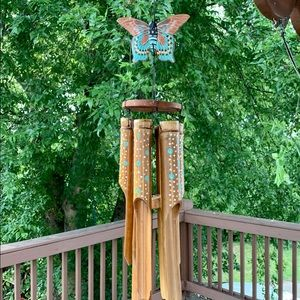 "HandPainted Butterfly Bamboo 44"" Wind Chime Mobile"